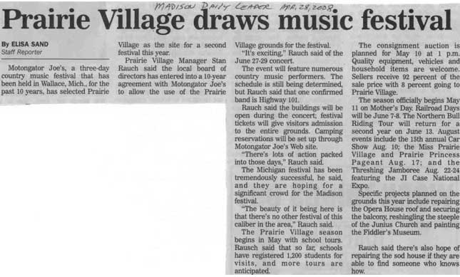 Prairie Village Draws Music Festival | Madison Daily Leader | March 28 2008